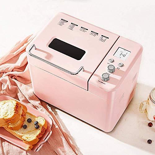 ALYR Automatische Brotbackmaschine, Brotbackautomaten 25 Programme Start-Verzögerungs-Funktion Brotbackmaschine Warm Rahmen für Heim Bäckerei Halt,Pink