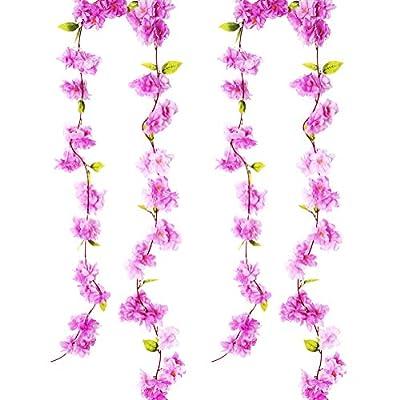 BEFINR Artificial Cherry Blossom Vine Purple Pe...