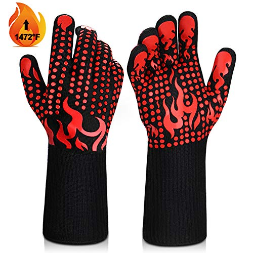 BBQ Gloves, 1472°F Heat Resistant Grilling Gloves Silicone Non-Slip Oven Gloves Long Kitchen Gloves for Barbecue, Cooking, Baking, Welding, Cutting -Red
