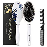 Hair Brush, Boar Bristle Hair Brushes for Women Kids Thick Curly Wet Dry Hair, Smoothing Detangling Hairbrush Adds Shine and Improves Hair Texture, Portable Hair Comb and Giftbox Included