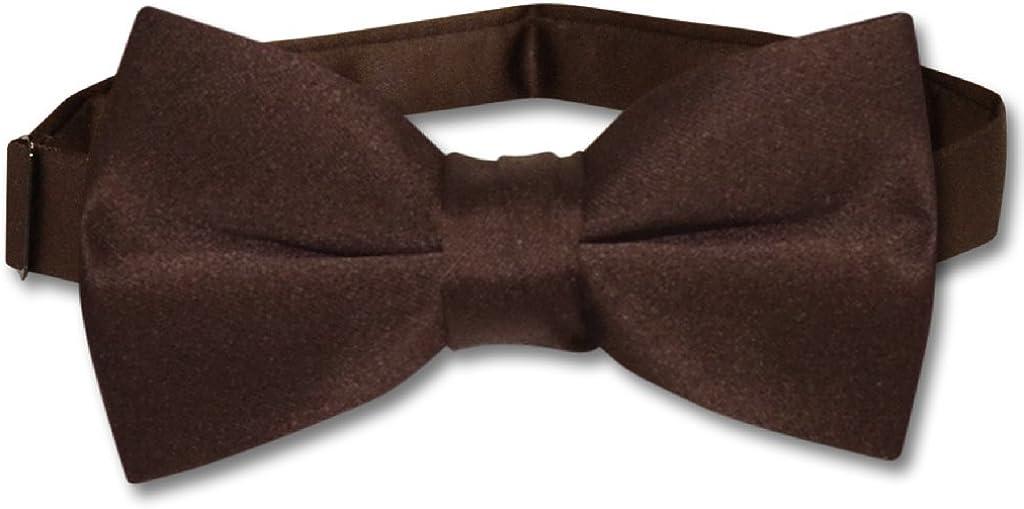 Vesuvio Napoli BOY'S BOWTIE Solid CHOCOLATE BROWN Color Youth Bow Tie