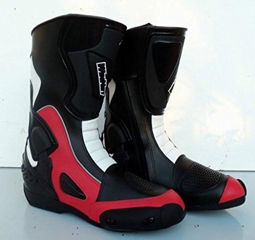 WinNet Stivali per Moto da Pista con Protezione antitorsione Rossi, Taglia: 47