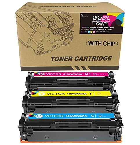 Cartucho de tóner láser Compatible con Victor de Repuesto para HP 415A 415X W2030A W2031A W2032A W2033A HP Color Laserjet Pro MFP M479dw M454dw M454dn M479fdn M479fnw M479fdw (con Chip)