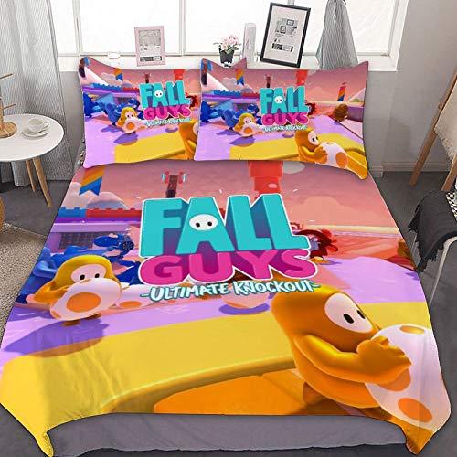 fivekim F-All G-uys - Juego de cama de tres piezas, funda de edredón, funda de almohada, suave y cómoda, transpirable, fibra ultrafina, ligera