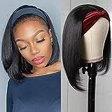 Headband Bob Wig Human Hair Short Bob Wig Headband Wigs For Black Women Straight Human Hair Wigs Bob Headband Wig 150% Density (10 Inch)