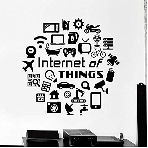 Wandaufkleber Internet der Dinge Wandtattoo Zitat Hi Tech IT Geek Vinyl Wandaufkleber Teenager Schlafzimmer Computer Klassenzimmer Inneneinrichtung 74 * 75com