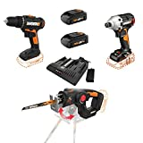 WORX WX911L 20 Volt Combo Power Tool Kit with 3/8 Inch Power Drill, 1/4 Inch Impact Driver, AXIS Saw, and 2 Rechargeable Lithium Ion Power Share Batteries