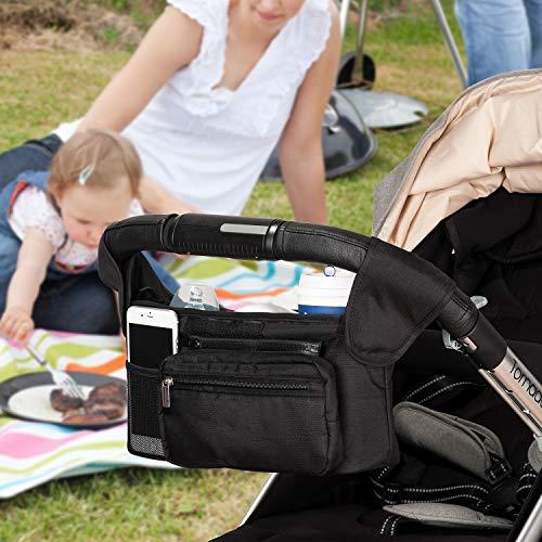 Momcozy Organizer per Passeggino, Pram Bag Organizer Multifunzionale Carrozzina Buggy Storage Bag con tasca staccabile, tasca per cellulare, 2 portabicchieri e tracolla organizer per passeggino