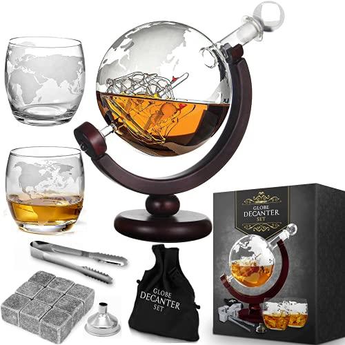 MikaMax - Globe Dekanter Set - Whiskeykaraffe - mit Zwei Gläsern - Handgefertigt - Transparent - 850 ML - Karaffe mit luftdichtem Verschluss Titelbild