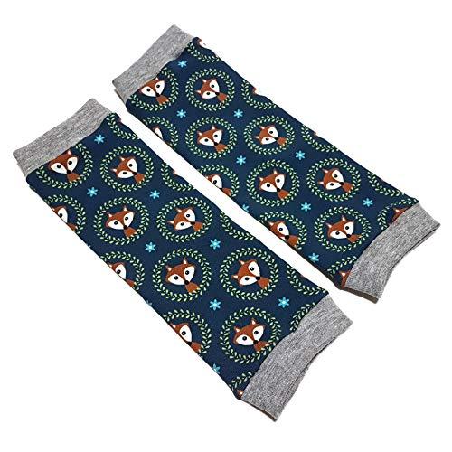 la.nunu Stulpen - Füchse Dunkelblau 0-23 Monate - Beinstulpen für Babys und Kinder aus Baumwolle - Handarbeit - Kinderstulpen und Babystulpen für Jungen und Mädchen