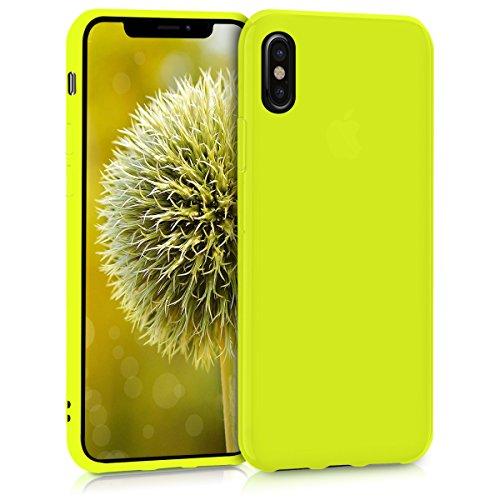 kwmobile Custodia Compatibile con Apple iPhone X - Cover in Silicone TPU - Back Case per Smartphone - Protezione Gommata Giallo Fluorescente
