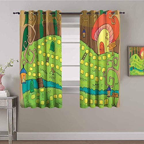 Kids Activity Heat Insulation Curtain Board Game Style Design of Pathway to The Mushroom House in a Magical Forest Daily use Multicolor W72 x L72 Inch