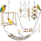 TAECOOOL Lot de 8 jouets à mâcher en bois naturel à suspendre pour cage à oiseaux, convient pour cacatoès, pinsons, petites perruches, perruches et autres petits oiseaux