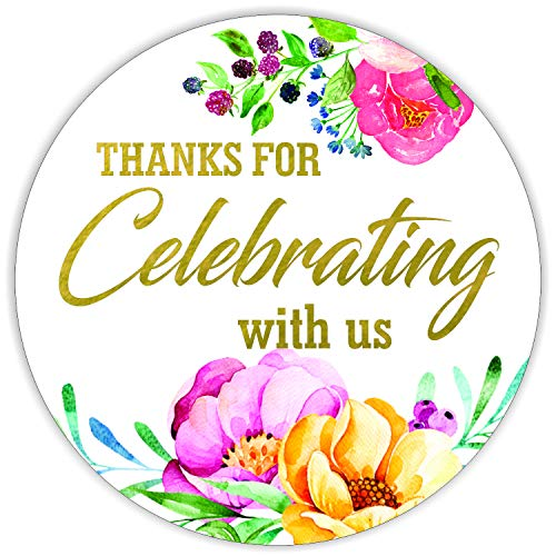 """Thanks for Celebrating with us Stickers Seals Labels (Pack of 120) Stunning Gold Foil Stamping 2"""" Large Round - Floral White"""