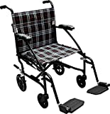 Drive Medical Fly Lite Ultra Lightweight Transport Wheelchair, Black Frame, 16.5 lbs