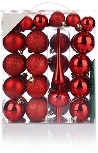 com-four® 47 teiliges Christbaumschmuck Set in rot - Christbaumkugeln + Christbaumspitze in verschiedenen Größen und Farben (47-teilig - rot)