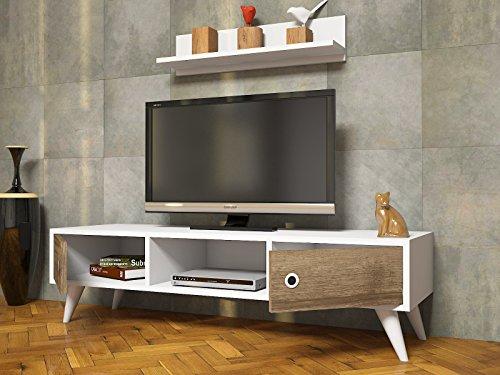 ASPEN Wohnwand – Weiß / Nussbaum – TV Lowboard mit Wandregal in modernem Design (Weiß / Nussbaum) - 3