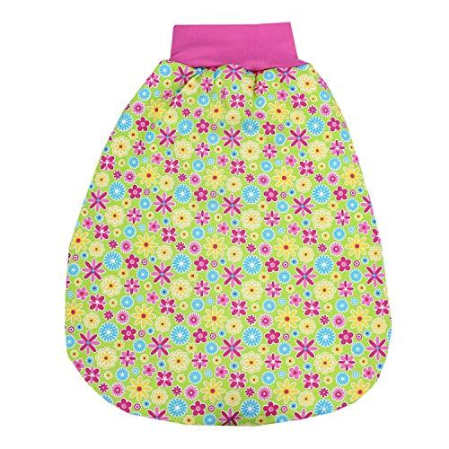 TupTam Baby Unisex Strampelsack mit breitem Bund Wattiert, Farbe: Blumen/Grün, Größe: 0-6 Monate