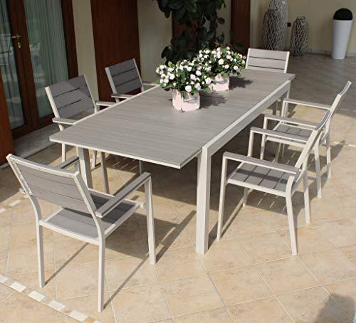 Milani Home s.r.l.s. Set Tavolo Giardino Rettangolare Allungabile 180/240 X 100 con 6 Poltrone in Alluminio Tortora da Esterno