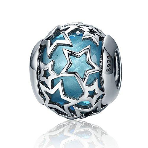 Lily Jewelry - Ciondolo in argento Sterling 925 con cuori luminosi e cristalli azzurri, per braccialetti Pandora