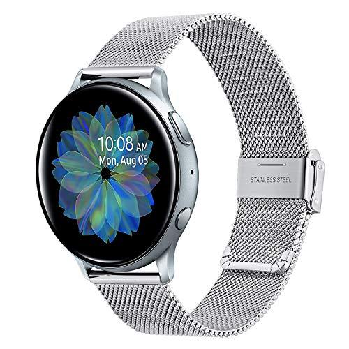TRUMiRR Kompatibel mit Galaxy Watch Active 40mm Armband, Mesh Gewebte Edelstahl Uhrenarmband Metall Armband für Samsung Galaxy Watch Active, Galaxy Watch Active2, Galaxy Watch 3 41mm