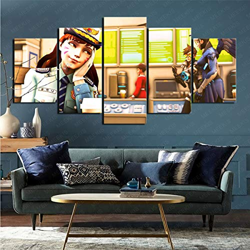 mmkow Cuadro en Lienzo Juego de 5 Piezas Videojuego Overwatch Sala de Estar decoración del hogar 80x150cm (Marco)