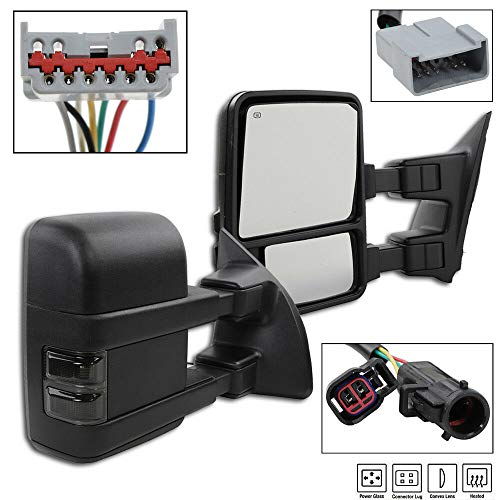 Sale!! L+R, Compatible with 99-07 Ford F250/F350/F450 Power Heated Smoke Signal Lamp Towing Mirrors