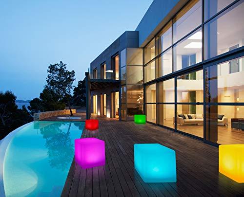 Bonetti LED Solar Gartenleuchte Würfel/Cube / 8 Farben/optionaler Farbwechsel/ca. 30 x 30 cm / IP67 / RGB/Würfel Solarlampe/Dekoleuchte/Außenleuchte/Gartenlampe/Würfelleuchte/Dekowürfel