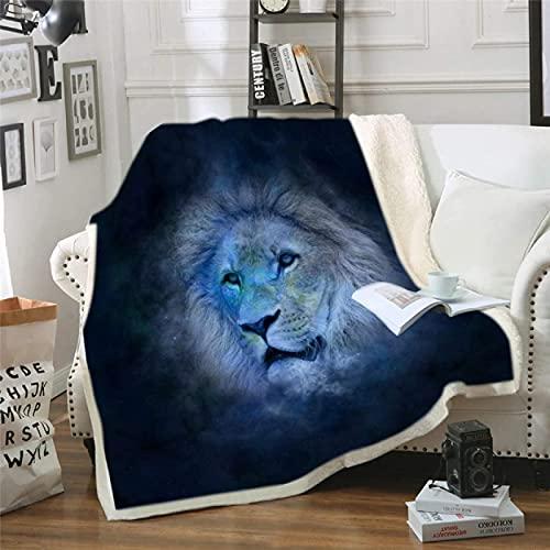Manta con estampado de león para atrapasueños de animales, manta de sherpa, manta de felpa de luna, colcha, ropa de cama mullida para viajes, camping, picnic, 200 x 150