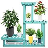Wood Plant Stand, 4 Tier Flower Pot Holder Shelf Indoor Outdoor, Reinforced Multiple Planter Display Rack for Patio/Garden/Living Room/Yard/Corner Balcony/Bedroom(Aqua)