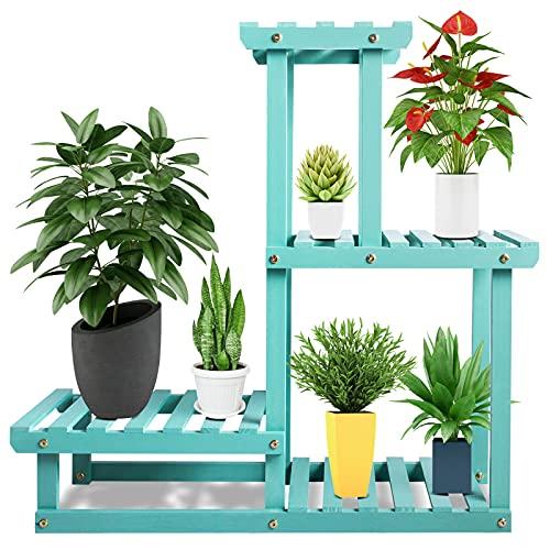 Wood Plant Stand, 4 Tier Tall Flower Pot Holder Shelf Indoor Outdoor, Reinforced Multiple Planter Display Rack for Patio/Garden/Living Room/Yard/Corner Balcony/Bedroom(Aqua)