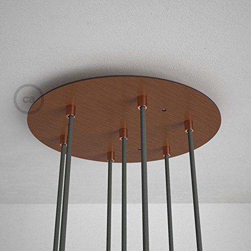 Rosace XXL ronde 35cm à 7 trous cuivre satiné avec les accessoires.