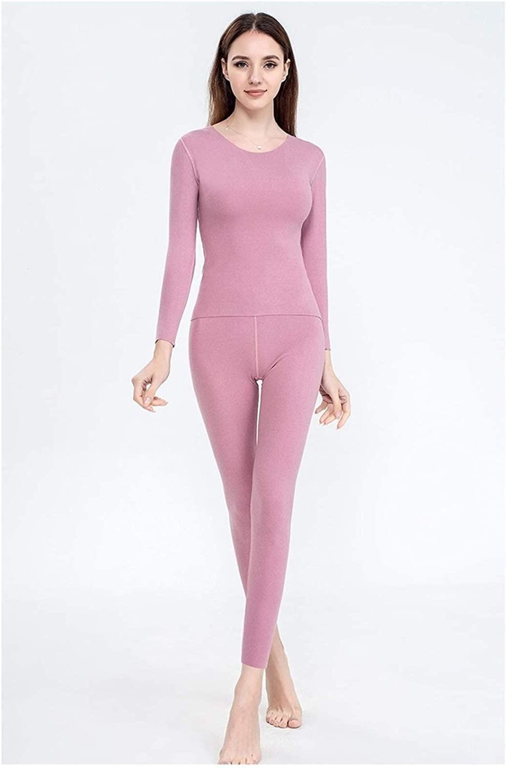 QWERBAM Thick Thermal Underwear Set Female Seamless Elastic Round Neck Warm Women Autumn Winter Clothing (Color : Pink Purple, Size : XL.)