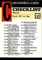 BBM1994 ベースボールカード レギュラーカード No.566 チェックリスト11