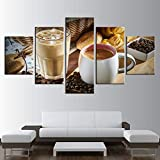 Lienzo HD Imprimir imagen Decoración del hogar Restaurante Vapor Café Taza de café Grano de café Pintura Cocina Arte de la pared Comida Cartel Sin marco 40 * 60 40 * 80 40 * 100