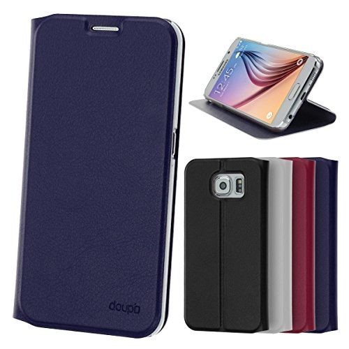 doupi Deluxe FlipCover para Samsung Galaxy S6, Carcasa Case magnético Funda Caso tirón Estilo Libro Protector de Cuero Artificial, Azul