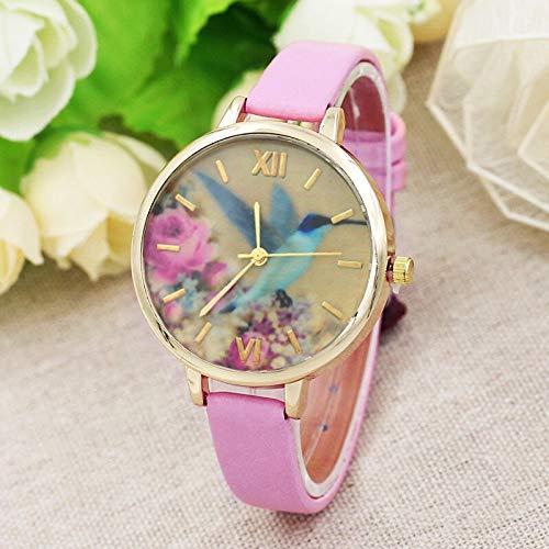 JZDH Relojes para Mujer Moda Mujer Banda de Cuero analógico Movimiento Reloj de Pulsera Reloj Reloj Reloj Reloj Reloj Mujer Reloj Relojes Decorativos Casuales para Niñas Damas (Color : Pink)