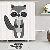ADONINELP 2 Piece Shower Curtain Sets with Non-Slip Bathroom Mats and 12 Hooks,Mascot Raccoon Cute Woodland Wildlife Isolated Animals Smile Shower Curtains Durable Waterproof Bath Curtain