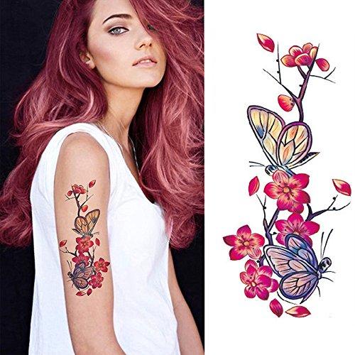 EROSPA® Tattoo-Bogen temporär - Motiv Blumenranke Schmetterling lila - 9 x 19 cm