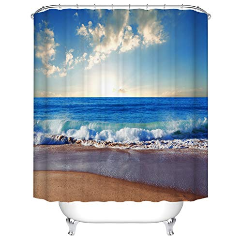 Fangkun Duschvorhang mit Strandmotiv – gewellter Ozeanblau Himmel weiße Wolken Oberfläche Landschaft Polyestergewebe Badvorhänge Dekor Set – 12 Duschhaken – 183 x 183 cm