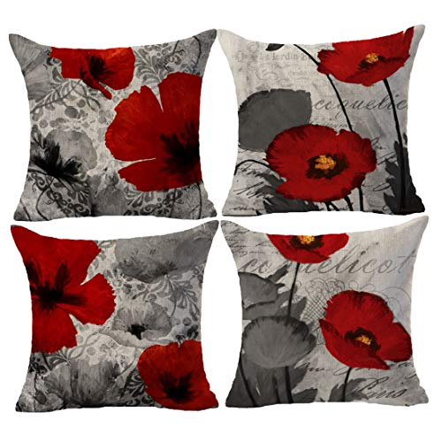 Set of 4 Plant Beautiful Poppy Red and Gray Background Cotton Linen Throw Pillowcase Couch Pillow Cover Square 18x18 inch Decorative Pillow for Family Birthday