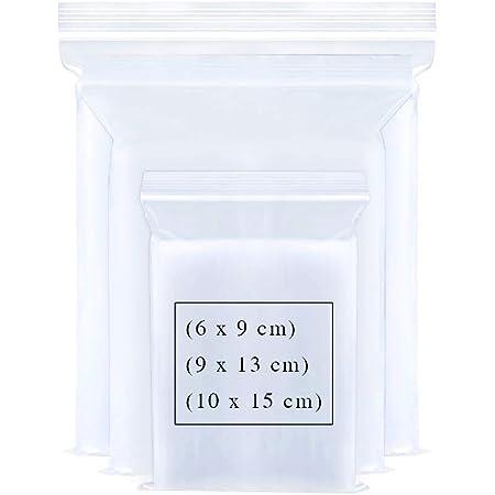 ジッパー式ポリ袋 小分け収納袋 密封保存袋 プラスチック袋 透明 6 x 9cm/ 9 x 13cm/ 10 x 15cm  厚み0.05mm 300枚セット