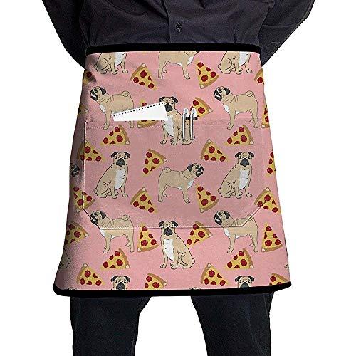Pug Pizza Pink Print Delantales Personalizados Delantal Ajus