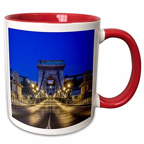 3dRose Hungría, Budapest, Puente de Cadena al Amanecer. -Taza de Dos Tonos, cerámica, Rojo, 10,16 x 7,62 x 9,52 cm