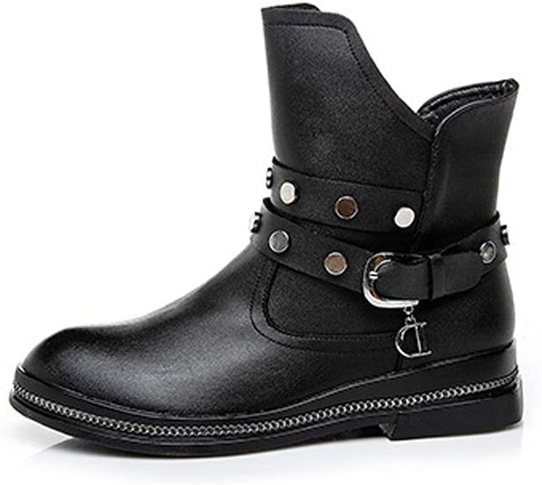 KAOKAOO Leather Low Heeled shoes Side Zipper Casual Boots for Women