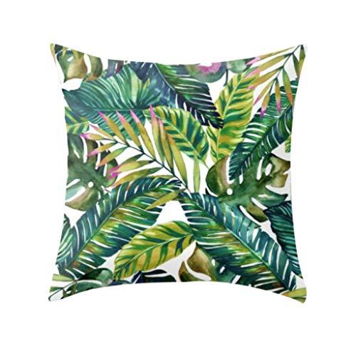 Transwen Funda de cojín, plantas tropicales, poliéster, sofá, juego de cojines para coche, decoración creativa con flores, c, 45 x 45 cm