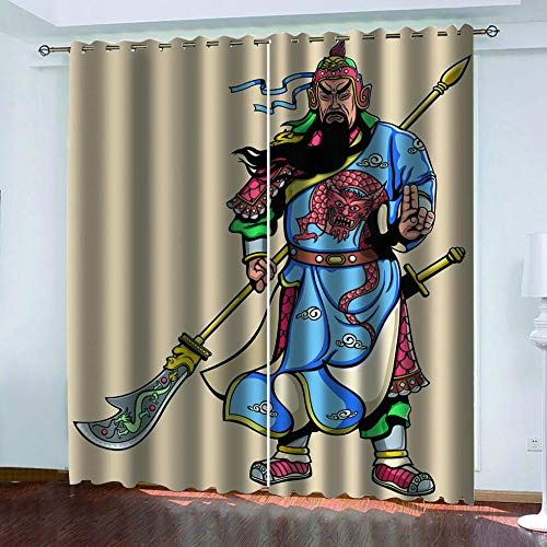 Ahooseso Eyelet Blackout Curtains Creative Ancient Heroes Curtain For Home Decoration Thermal Curtains For Kitchen Living Room Bedroom Bay Window X2 300(W) X280(H) Cm -Insulation Curtains