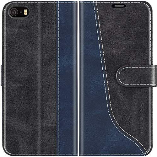 Mulbess Handyhülle für iPhone 5S Hülle Leder, iPhone SE 2016 Hülle Leder, iPhone 5S Handy Hülle, Modisch Flip Handytasche Schutzhülle für New iPhone SE/iPhone 5, Schwarz
