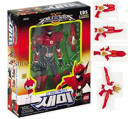 Miniforce Semi Korean Robot Action Figure Red 5.5' Mountable 4 Weapons 14 Joints Move (Single Product)