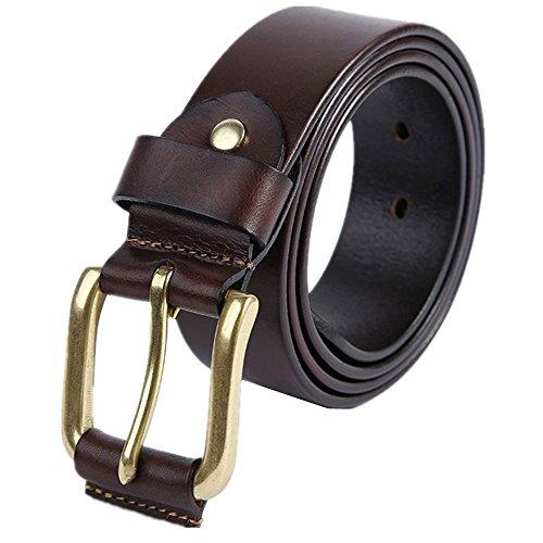 TWFY Cinturón de Hombre de Cuero Clásico Negocio de la Correa Ocasional Pin Hebilla del cinturón de los Hombres adecuados for Todas Las Estaciones Cinturón de Vestir Casual (Color : Brown)